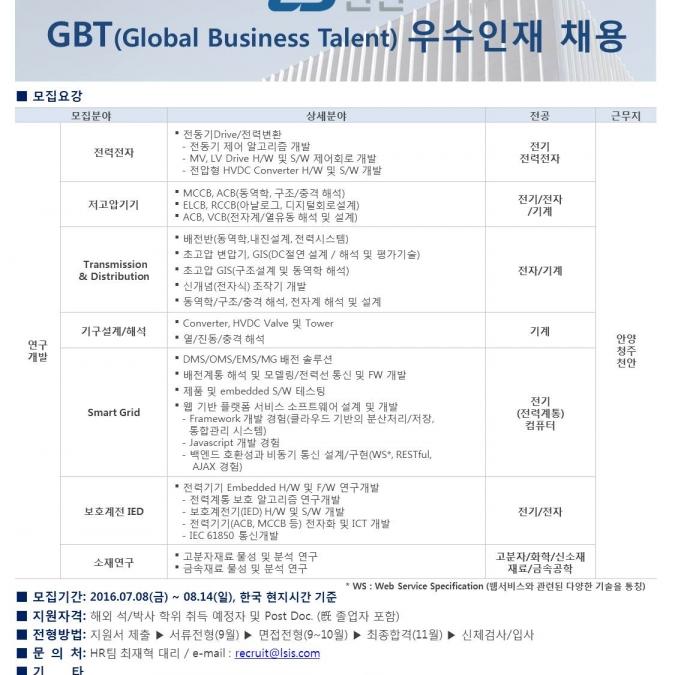 2016년 LS산전 GBT(Global Business Talent) 우수인재 채용 - 구인·구직 - 조지아주닷컴 : Thumbnail - 675x675 커버이미지